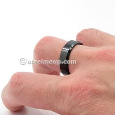 Large collection of high quality stainless steel men jewelry. Tungsten Carbide Rings, Black Polish, Wide Band Rings, Edge Design, Up, Wedding Bands, Rings For Men, Steel