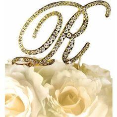 Unik Occasions Victorian Rhinestone Wedding Cake Topper, Gold