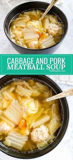 This Cabbage and Pork Meatball Soup is easy to make and full of great umami flavor! It's an Asian-inspired recipe that whips up pretty quickly and with savory, mouthwatering flavor! (quick and easy soup low carb) Chinese Soup Recipes, Cabbage Soup Recipes, Pork Recipes, Asian Recipes, Cooking Recipes, Chinese Cabbage Soup Recipe, Diet Recipes, Asian Foods, Gourmet