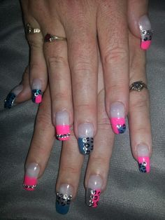 Pink blue French tip cheetah rhinestones nail designs art