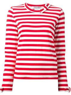 Comme Des Garçons Comme Des Garçons Neck And Cuffs Bow Detail Striped Sweatshirt - Noténom - Farfetch.com