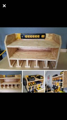 Garage organization - Imgur Garage Tool Storage, Garage Workbench, Wood Shelves Garage, Garage Diy Organization, Dewalt Storage, Garage Shelving Plans, Trailer Shelving, Organizing Tools, Workbench Ideas