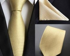 New Men Yellow Black Polka Dot Tie Necktie Pocket Square Handker Set Lot Yellow Ties, Yellow Black, Polka Dot Tie, Tie Set, Mens Fashion Suits, Silk Ties, Bow Ties, Pocket Square, Fashion Accessories