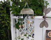 Up-cycled bottle cap wind-chime with personalized glass wind catcher. $35.00, via Etsy.