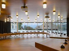 personeni raffaele scharer bernex city hall geneva switzerland designboom Geneva Switzerland, Architecture Office, Real Estate Development, Ceiling Lights, City, Gallery, Building, Wood, Architects