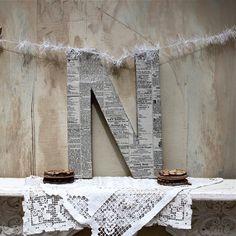 alphabet wall - decopage newspaper to a letter - cute