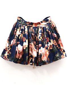 Navy High Waist Floral Pleated Skirt