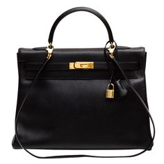 Hermes Kelly Black Ardenne 35 cm bag | From a collection of rare vintage handbags and purses at https://www.1stdibs.com/fashion/accessories/handbags-purses/