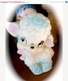 ON SALE Precious Vintage Kitsch Squeak Toy Lamb