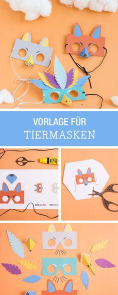Witzige Masken zum Karneval selbermachen, Basteln mit Kindern / crafting ideas with kids, diy animal masks via DaWanda.com