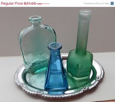 On Sale 3 Blue & Green Vintage Bottles by ZeldasCottage on Etsy