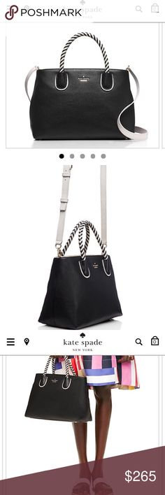 KATE SPADE BLACK AND WHITE WOODS DRIVE BODIE. Flashes of white elevate the new woods drive bodiethe optional white shoulder strap and black and white striped handles, in particular , stand out. But the clean - lined shape ensures that it's versatile, to the perfect go anywhere bag. kate spade Bags Shoulder Bags