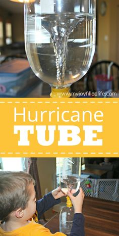 Hurricane Tube This is an example of Science. Hands on activity where kids can observe a natural disaster up close without the risk. Preschool Science, Elementary Science, Science Experiments Kids, Science Lessons, Teaching Science, Science For Kids, Earth Science, Science Ideas, Science Classroom