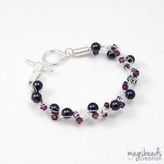 Plum Purple Wire Crochet Bracelet by magsbeadscreation, $33.00 #handcrafted #jewelry #wirecrochet