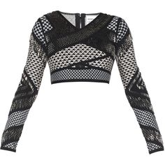 Herve Leger Gina Geometric-Stacked Beaded Mesh-Detail Top ($1,116) ❤ liked on Polyvore featuring tops, shirts, crop top, black combo, beaded crop top, black v neck shirt, v neck crop top and v-neck tops
