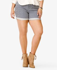 Vertical Striped Denim Shorts | FOREVER 21 - 2036137792