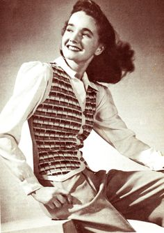 Items similar to PDF Vintage Womens Ladies Waistcoat Crochet Pattern Jazzy Textural Land Girl Pin Up Girl Jive War Time Jitterbug Rustic Old Fashioned on Etsy Vintage Inspired Outfits, Vintage Outfits, Vintage Fashion, Vintage Clothing, Vintage Knitting, Vintage Crochet, Crochet Waistcoat, Fair Isle Knitting, Vintage Hairstyles