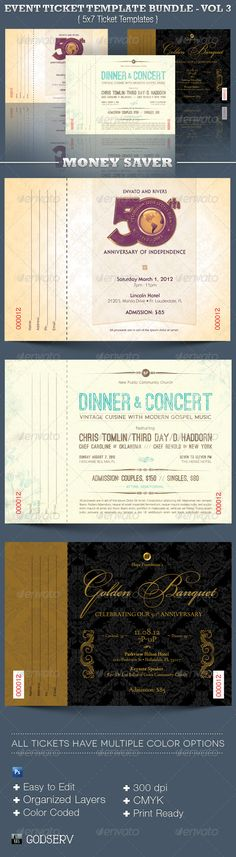 Event Ticket Template Bundle Volume 2 Fonts, Concerts and Last - event ticket template word