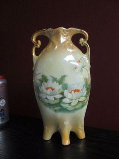 Antique ART NOUVEAU GERMAN Porcelain LUSTERWARE HOME DECOR VASE w WATER LILIES!!