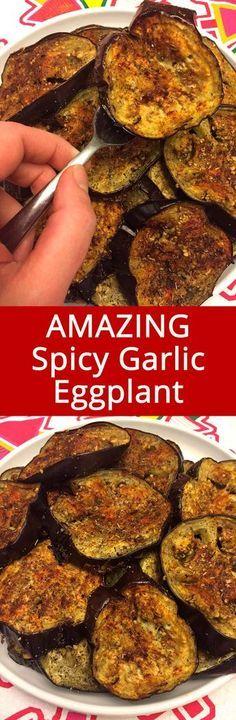 These spicy garlic eggplant slices are so addictive! LOVE this recipe!