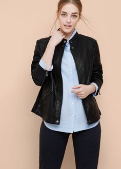 Leather biker jacket -  Women | MANGO USA