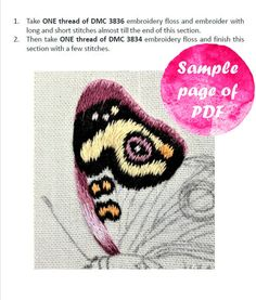 Hand Embroidery Tutorial, Hand Embroidery Stitches, Embroidery Patterns, Long And Short Stitch, Advanced Embroidery, Types Of Stitches, Butterfly Embroidery, Thread Painting, Purple Butterfly