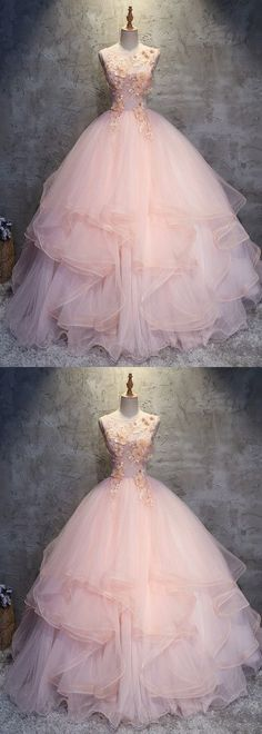 Fashion Pink Round Neck A-Line Tulle Long Prom Evening Dress by DRESS, $223.20 USD
