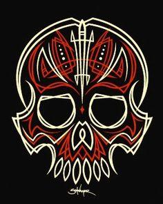 Old school skull. Pinstriping is just cool, fun way to add a custom touch. Pinstripe Art, Pinstriping Designs, 257, Skull Illustration, Garage Art, Paint Stripes, Automotive Art, Skull And Bones, Skull Art