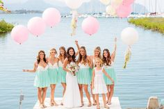 Bridal party from an Oahu wedding - cute two tone dresses for the bridesmaids - photo by Sutdio 128