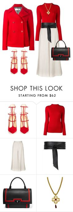 """""""Winter White"""" by ellenfischerbeauty ❤ liked on Polyvore featuring Christian Louboutin, Tory Burch, Topshop, Jaeger, Givenchy, Chanel and Golden Goose"""