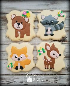 Woodland Baby Shower Decorated Cookies Baby Cookies, Baby Shower Cookies, Cute Cookies, Baby Girl Shower Themes, Baby Shower Decorations, Zoo Da Zu, Cookie Delivery, Cookie Images, Cupcakes For Boys