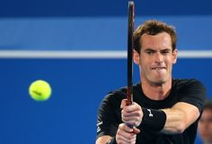 British tennis player Andy Murray returns the ball to Feliciano Lopez of Spain during their game in the Mubadala World Tennis Championship, in Abu Dhabi on January 1, 2015