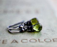 Peridot Earrings Silver August Lime Green Dangle by PoleStar, $53.00