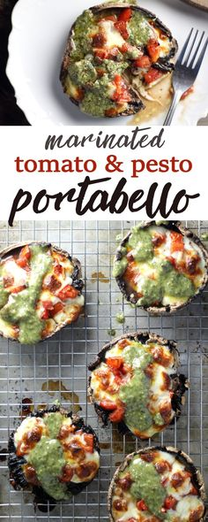 Marinated Tomato & Pesto Portabello Mushrooms are a simply stunning side dish or light meal that is done in less than 30 minutes. #portabellomushrooms #mushroomrecipe #30minutesorless