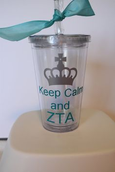 $12.50 Keep Calm and ZTA. Zeta Tau Alpha insulated tumbler with metallic silver crown.