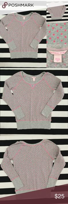 [Victoria's Secret] thermal long sleeved top szS [Victoria's Secret] thermal long sleeved top szS •🆕listing •good used condition •grey with pink polka dots •may be worn 3/4 or full sleeve depending on your arm length •material is 98% cotton 2% elastase •Offers welcomed using the offer feature or bundle for the best discount⭐️ Victoria's Secret Tops Tees - Long Sleeve