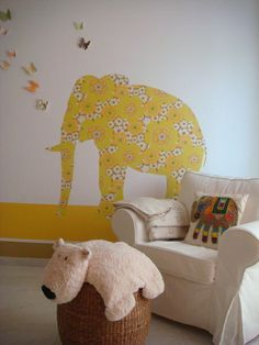 elephant wall decor mustard safari nursery