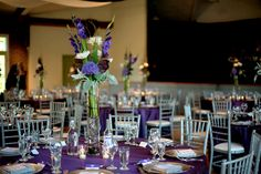A Lovely Purple, Silver & Yellow Victoria Park Pavillion Wedding + Grandmas Homemade Perogies Served at Midnight! - Fab You Bliss Purple And Silver Wedding, Plum Wedding, Elegant Wedding, Wedding Colors, Wedding Reception, Dream Wedding, Wedding Tables, Reception Ideas, Wedding Dreams