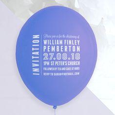 Christening ballon invitation - custom balloon printing for any event