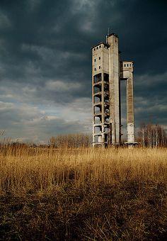 Tower of the former paper factory VEB Zellstoff- und Papierfabrik Crossen in Zwickau Crossen