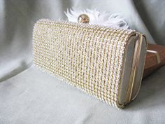 Rich Gold Satin Fabric Wedding Bag Clutch by weddingswithflair, $60.00