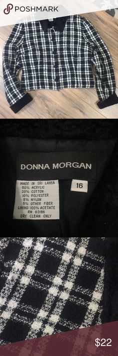 EUC Donna Morgan black and white blazer Sz 16 EUC Donna Morgan black and white blazer Sz 16 no rips stains or defects. Check out my closet for other items and bundle for extra savings!! Donna Morgan Jackets & Coats Blazers
