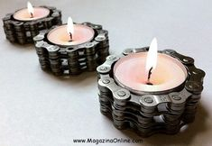 Bicycle Chain Tea Light Holder - Flower Pedal - Bike Bicycle Candle - Made precious with post-consumer bike chain these charming little tea light candle holders cast mellow am. Steampunk Wedding, Gothic Steampunk, Steampunk Clothing, Victorian Gothic, Steampunk Fashion, Gothic Lolita, Bike Chain, Bicycle Parts, Recycled Bike Parts