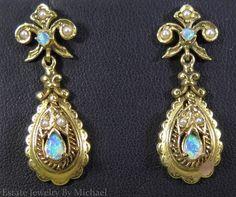 Victorian 1/3ctw Black Opal & Seed Pearl 14k Gold Dangle Earrings