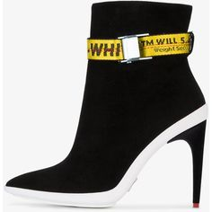 Off-White ankle boots with adjustable belt straps ($1,075) ❤ liked on Polyvore featuring shoes, boots, ankle booties, black, leather bootie, leather booties, ankle boots, black leather boots and black booties