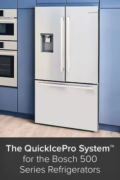 Purity and production speed are important factors to consider when buying an ice-producing refrigerator. An abundance of clean ice is paramount for the health and satisfaction of your family and house guests. Luckily, Bosch has taken the burden of this consideration off your shoulders with their new QuickIcePro System™, a quick ice maker for their 500 Series refrigerator units. Top Freezer Refrigerator, French Door Refrigerator, House Guests, Build Your Dream Home, Black Stainless Steel, Consideration, Drinking Water, Factors, Abundance
