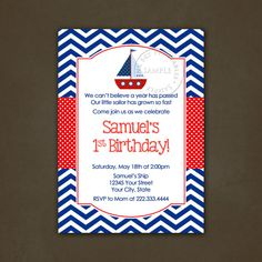 Sailboat Nautical Birthday Party invitation  by PinkSkyPrintables, $12.00