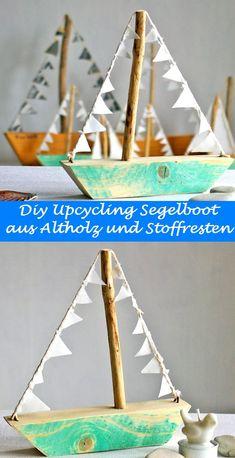 Segelboote laden zum Träumen ein. Du kannst sie mit ein bißchen Geschick und einigen Stoff- und Holzresten schnell selber bauen. Auch eine schöne Geschenk-Idee für Meerliebhaberinnen. Handmade by recyclingkunst.wordpress.com #recyclingkunst, #upcycling,#segelschiff, #segelboot, #diy, #selbermachen, #Holzboot, #Geschenk, #Wohnen