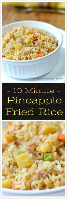 Hawaiian Pineapple Fried Rice - so light and fluffy with tidbits of onion, carrots, peas, pineapple and a light delicious soy sauce #rice #sidedish #cleaneating