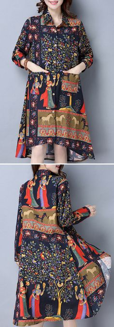 O-Newe Tribal Vintage Printed Lapel Button High Low Shirt For Women